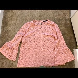 Pink lace blouse from Zara